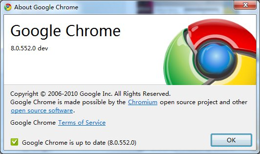 Google Chrome Dev 8 About
