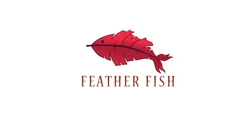 12 red creative logo Feather Fish