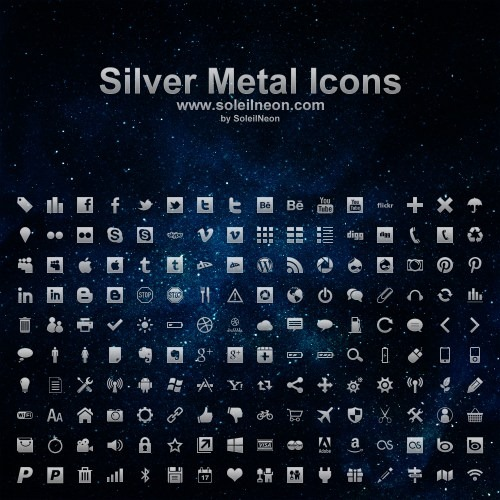 Silver Metal Icons - by SoleilNeon