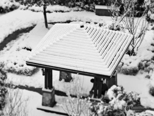 Pavilion in snow (tiltshifted)