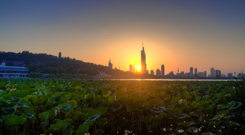 Sunset Over Xuanwu Lake