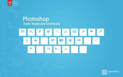 Photoshop Tools Keyboard Shortcuts Blue 1280x800