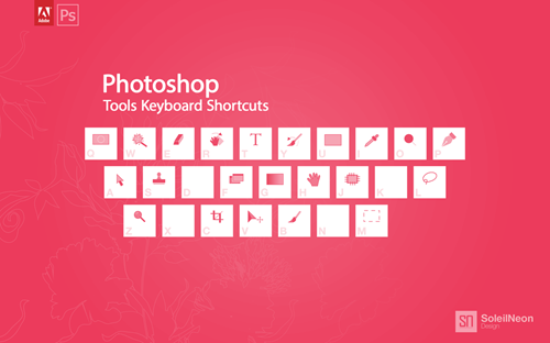 Photoshop Tools Keyboard Shortcuts Pink 1280x800