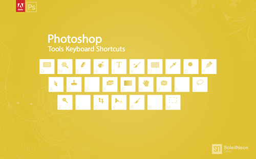 Photoshop Tools Keyboard Shortcuts Yellow 1280x800