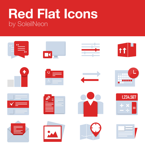 Red Monochrome Icons