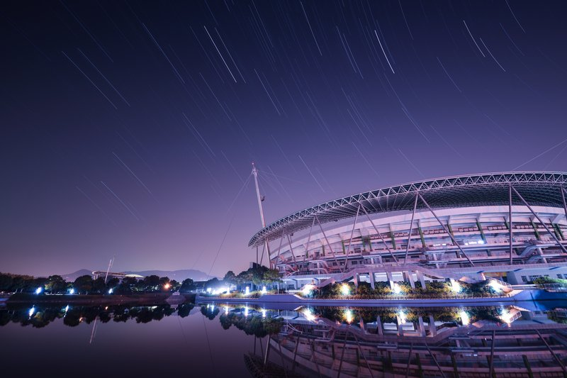 Star trails over the stadium Retouched