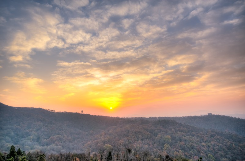 Sunrise Over Qixia Mountain