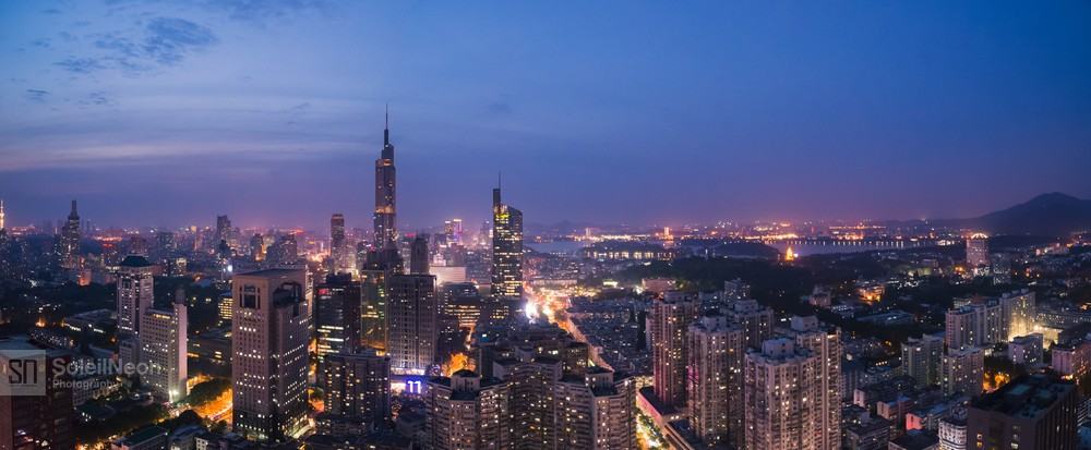 Skyline Panorama of Nanjing City at Twilight