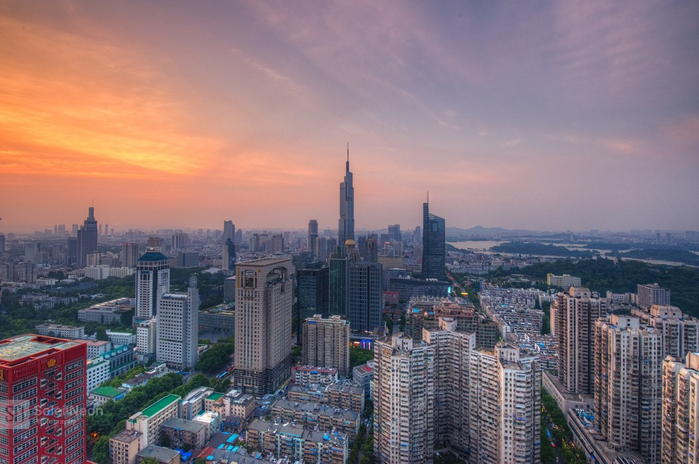 Skyline of Nanjing City at Sunset-9